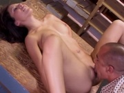 Skinny amateur girl sucks cock dry