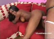 Ebony lesbian drills black lesbian diva with huge strap-on