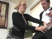 Busty mature babe titfucked and jerks cock