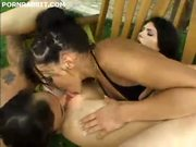 Two latin girls doing the job for a guy
