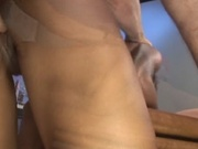 Amateur black girl rammed by two white cocks