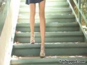 Skinny Girl Masturbates Outside