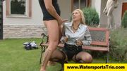 Pissing clothed golden shower outdoor couple