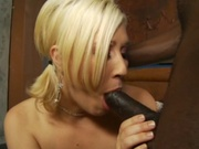 Slim blonde fills her box with black meat