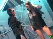 classy girls in kinky shower dance party