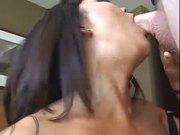 Gothic asian messing up her face with a dick
