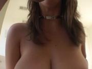 Pretty chick with massive tits rides a dick