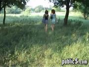 MFF Threesome Outside In Public
