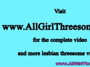 Lesbian teens threesome with a strapon