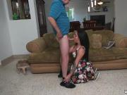 Busty teen and old man Frankie's a rapid learner!