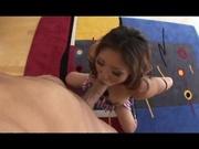 Asian schoolgirl gets fucked on the floor