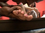 Fetish black girl foot fucks her boyfriend