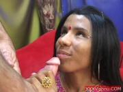 Slutty Sexy Indian babe sucking swollen white cock