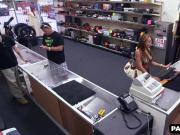 Hot brunette tries to sell a gun to the pawn shop