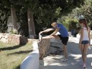 Glamour red haired teen girl Michelle drilled outdoors