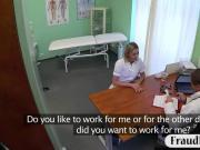 Blonde nurse fucked with fraud doctor on examining room