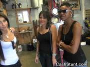 Amateur Girls Handling Dick During Cash Stunt In Garage