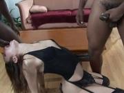 Nast girl eagerly fucking two black cocks