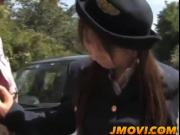Asian police person Momo gives arousing blowjob in public