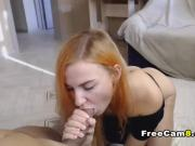 Pretty Babe Sucks Deep on that Big Cock