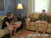 Barely legal dudes on couch home blowjob