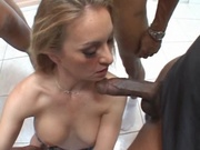 Hot milf gets fucked by three black cocks