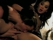 Hot couple in costume having steamy sex