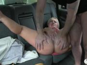 Chubby blond passenger fucked in ride