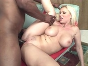 Big breasted hottie plowed b black cock