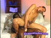 Young boy ass fucked hard by strapon on interracial video