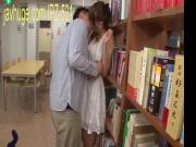 Beautiful wife oral sex in the library