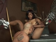 Ebony couple having steamy sex