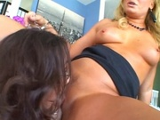 Lesbians using strap on dildo