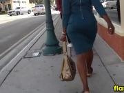 Following A Black Woman In A Dress
