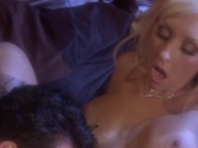 Pretty blonde with big tits rammed by a stud