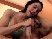 Sexy mom makes guy cum using her hands