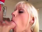 Blonde girl deep throats a big dick