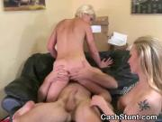 Short Haired Blonde Riding Dick In Money Talks Stunt