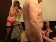 Horny girl banging two guys as initiation in this frat