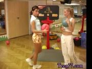 Cindy and Amber drilling each other in the gym