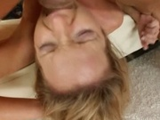 Tiny titted wife throat and pussy fucked