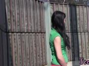 Ebony teen girlfriend gets creampie Masturbating at the teach station