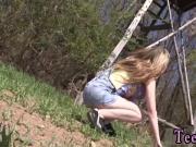 Abby deep-throating hard-on outdoor