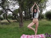 Daniella taking her Yoga Lessons outdoors