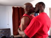 Ebony blokes drooling on big black dicks