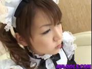 Japanese in cosplay as a maid sucks cock and gets drilled