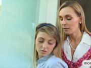 Mature Tanya Tate threesome with teen couple on the bed