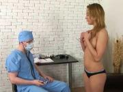 Very cute blonde with perky boobs examined