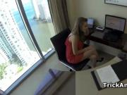 Office hoe Lia fellating the biggest dick ever
