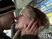 Small tit amateur teen in public foreplay